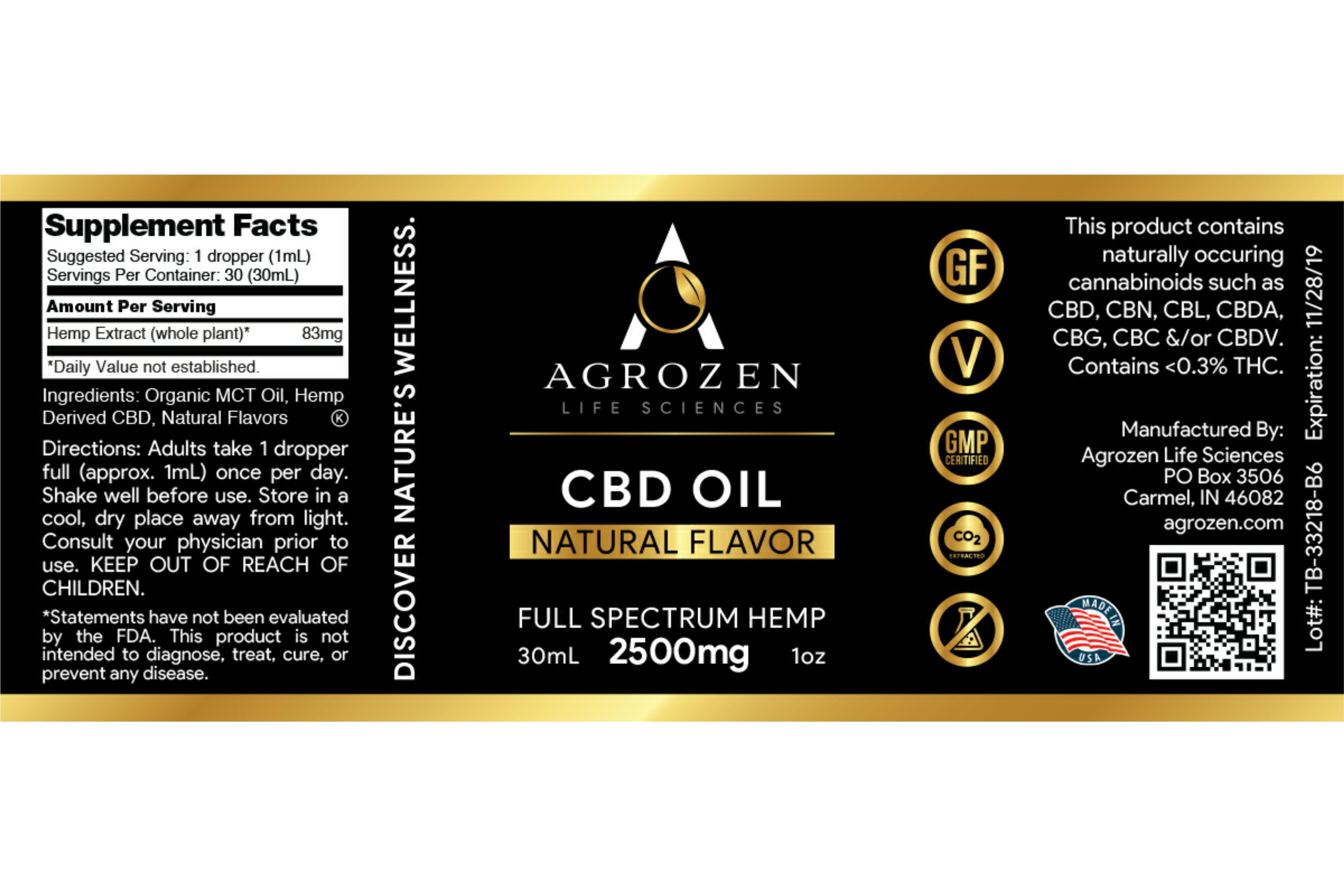 CBD Tincture Oil - 2500mg Full Spectrum Hemp Extract, Natural Flavor