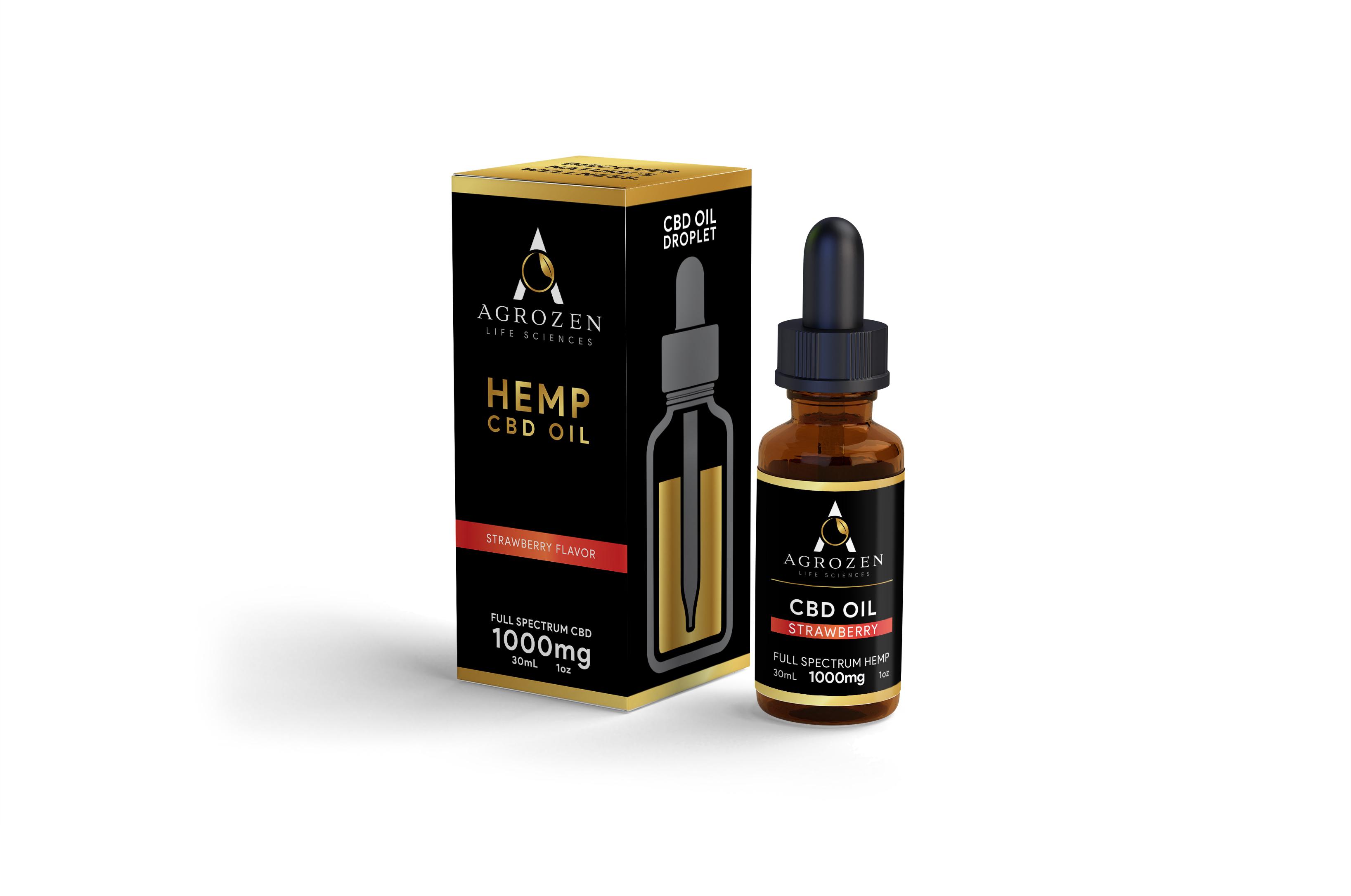 CBD Tincture Oil - 1000mg Full Spectrum Hemp Extract, Strawberry Flavor